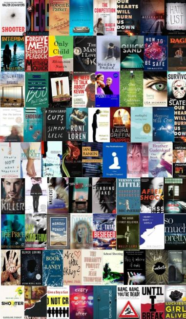"A collage image I created showing the covers of books I have identified as ""school shooting fiction"": books which feature a school shooting as a major plot point.  Many of these books are marketed as young adult fiction."